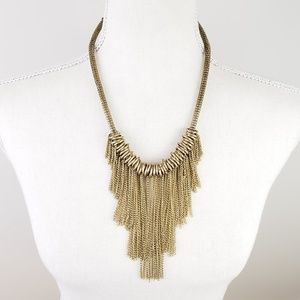 Boho Antiqued Gold Dripping Chains Necklace